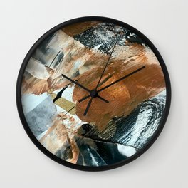 Chocolate Kisses [2]: A bold, minimal, abstract piece in pink, gold, brown, black and white Wall Clock