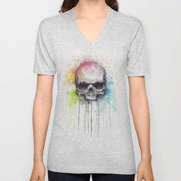 Skull Rainbow Watercolor Painting Skulls Unisex V-Neck