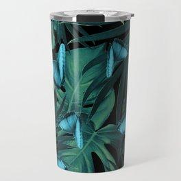 Tropical Butterfly Jungle Night Leaves Pattern #5 #tropical #decor #art #society6 Travel Mug