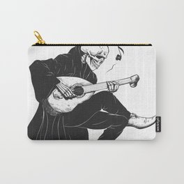 Minstrel playing guitar,grim reaper musician cartoon,gothic skull,medieval skeleton,death poet illus Carry-All Pouch
