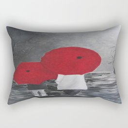 Black White Red mother and child with Umbrella print of painting rainy cloudy surrealism Rectangular Pillow