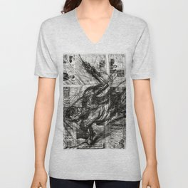 Breaking Loose - Charcoal on Newspaper Figure Drawing Unisex V-Neck