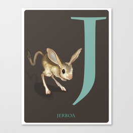 J is for Jerboa: Under Appreciated Animals™ ABC nursery decor dark grey unusual animals Canvas Print