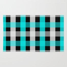 blue black checks Rug