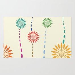 Colored floral design Rug