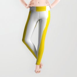 Philippine golden yellow - solid color - white vertical lines pattern Leggings