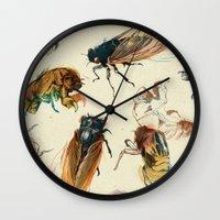 bugs Wall Clocks featuring summer cicadas by Teagan White