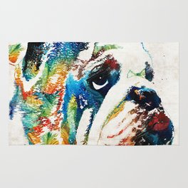 Bulldog Pop Art - How Bout A Kiss - By Sharon Cummings Rug