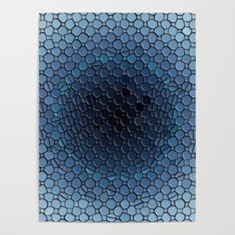 Blue Ombre Circle Mosaic Tiled Patten Poster