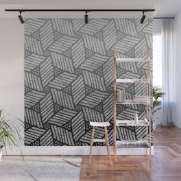 Japanese style wood carving pattern in gray Wall Mural