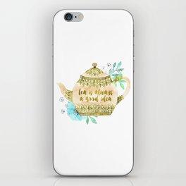 Watercolor Teapot Flowers iPhone Skin