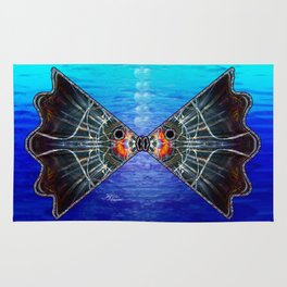 Fishies in Love, Kissing Fishes, Scanography Art Rug