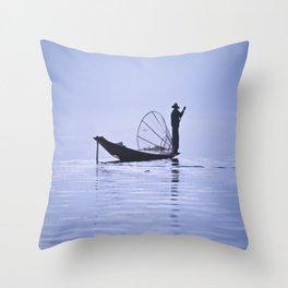 FISHERMAN AT INLE LAKE II Throw Pillow