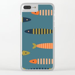Striped fish - blue Clear iPhone Case