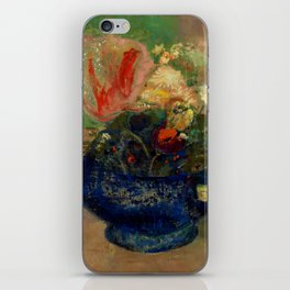 "Odilon Redon ""Flowers in a Blue Cup (Fleurs dans une coupe bleue)"" iPhone Skin"