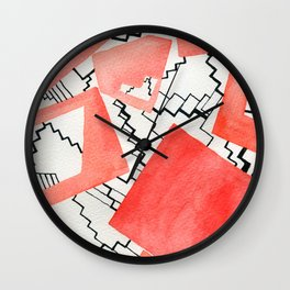 Stairs in red Wall Clock