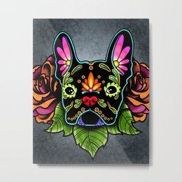 French Bulldog in Black - Day of the Dead Bulldog Sugar Skull Dog Metal Print