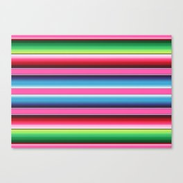 Pink Green Blue Mexican Serape Blanket Stripes Canvas Print