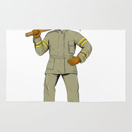 American Firefighter Fire Axe Drawing Rug