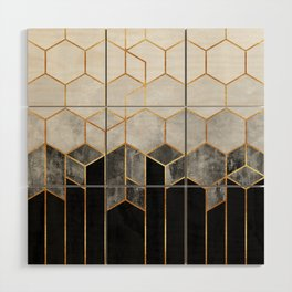 Charcoal Hexagons Wood Wall Art