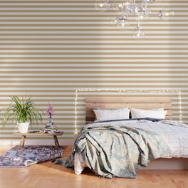 Burlywood - solid color - white stripes pattern Wallpaper