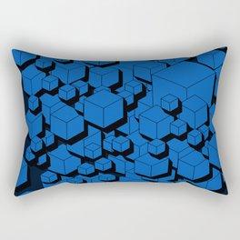 3D Cobalt blue Cubes Rectangular Pillow