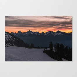 Rising Sun in the Cascades - nature photography Canvas Print