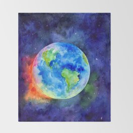 Watercolor painting of Earth Throw Blanket