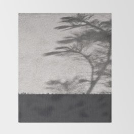 Grey Tree Branch Shadows and Texture Throw Blanket
