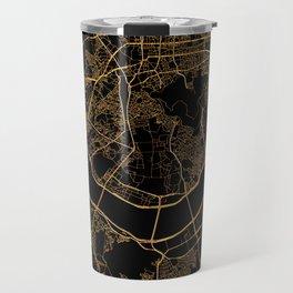 Black and gold Seoul map Travel Mug