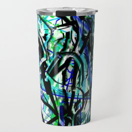 Abstract in Blue, Black, Aqua, Green, and White Travel Mug