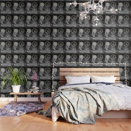 black and white vintage patent print chalkboard steampunk clock gear Wallpaper