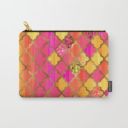 Moroccan Tile Pattern In Pink, Red, Orange, And Gold Carry-All Pouch
