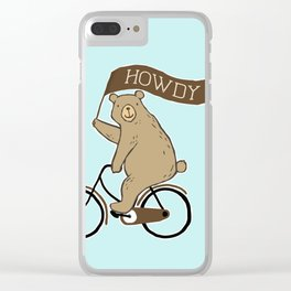 Friendly Neighborhood Bicycle Bear Clear iPhone Case