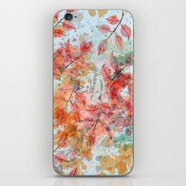 Watercolor autum foliage on blue iPhone Skin