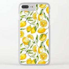 lemon watercolor print Clear iPhone Case