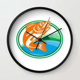 Walleye Fish Lake Cabin Oval Retro Wall Clock