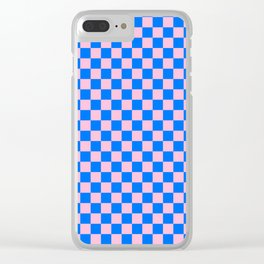 Cotton Candy Pink and Brandeis Blue Checkerboard Clear iPhone Case
