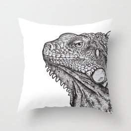 Iguana - Hand Drawn Throw Pillow