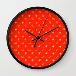 White on Scarlet Red Snowflakes Wall Clock