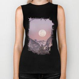 Pastel Full Moon Over Yosemite Park Biker Tank