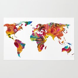 Map of The World 2 -Colorful Abstract Art Rug