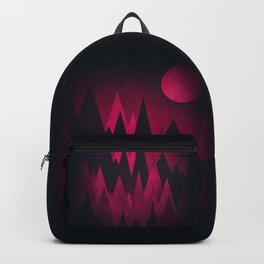 Dark Triangles (Peak Woods) Abstract Grunge Mountains Design (red/black) Backpack