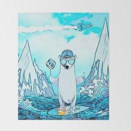 Polar bear on the surf board Throw Blanket
