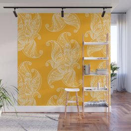 White and Yellow Feathers Wall Mural