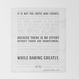 Man in the Arena Teddy Roosevelt Quote Throw Blanket