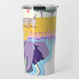 Poster with graphic african animals in strong colors Travel Mug