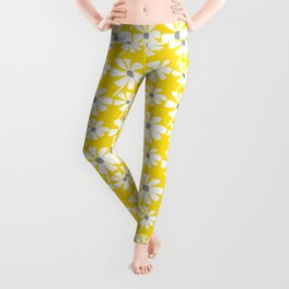 Daisies In The Summer Breeze - Yellow White Grey Leggings