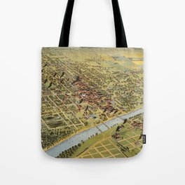 Vintage Pictorial Map of Waco Texas (1892) Tote Bag