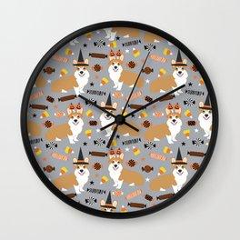 Corgi Dog Costume Halloween cute dog halloween candy dog pattern Wall Clock